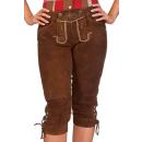 Trachten Damen Kniebundlederhose - ZITRONE - braun, Größe 34