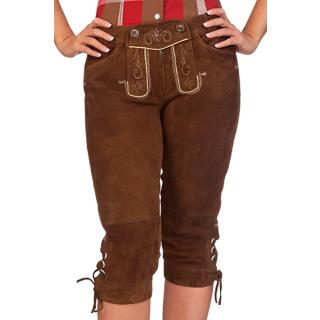 Trachten Damen Kniebundlederhose - ZITRONE - braun, Größe 36
