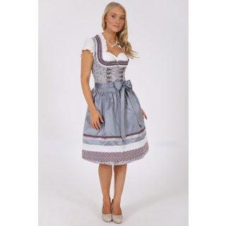 Krüger Madl Damen Dirndl Scarlett Knielang 60cm Grau 47826-44